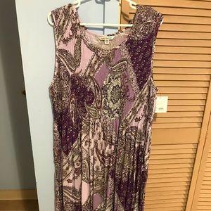 Paisley print smocked maxi dress